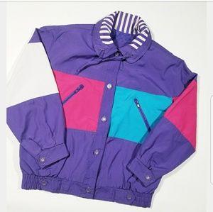 VTG 80s 90s Geometric Retro Colorblock Jacket
